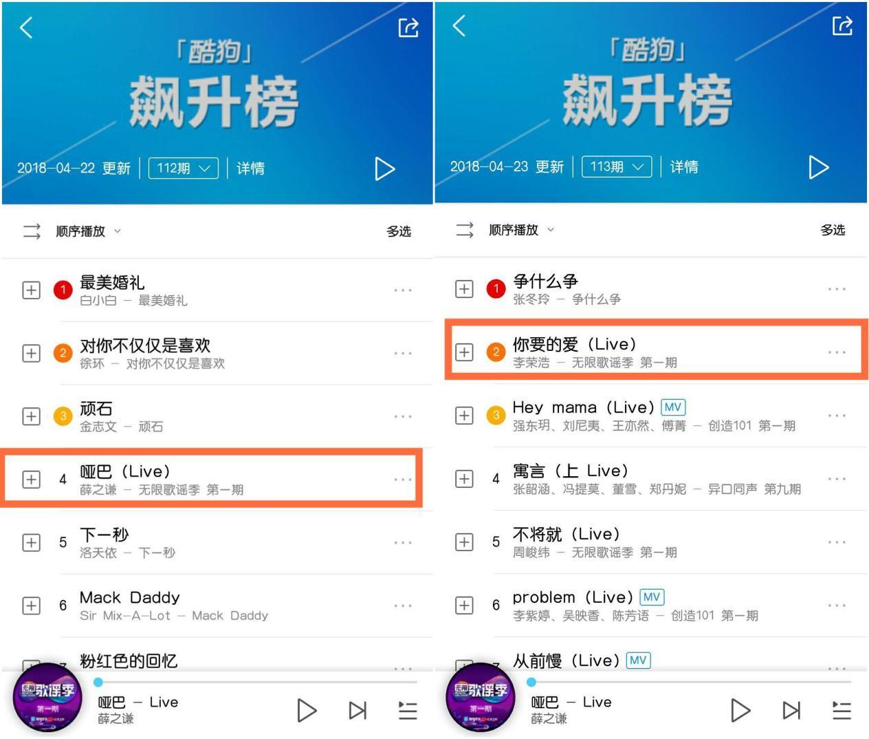 《无限歌谣季》薛之谦、李荣浩歌曲播发量对比.jpg